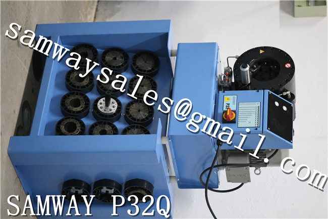 Finnpower P32MS style hose crimping machine with 17 die sets and